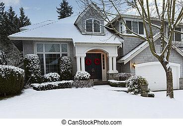 durante, exterior, lar, residencial, inverno