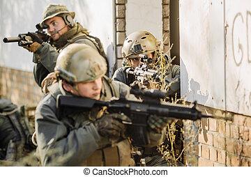 durante, fucili, pattugliando, guerra, soldati