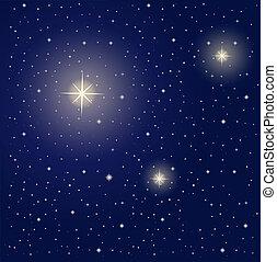 durante, luminoso, estrelas, noturna