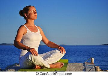 durante, meditación, mujer, yoga, joven
