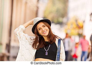 durante, menina, rua, chapéu, retrato
