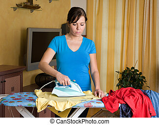 durante, mulher, ironing
