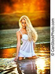 durante, mulher, praia, pôr do sol