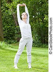 durante, mulher, praticar, jardim