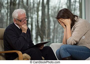 durante, mulher, terapia, jovem, chorando