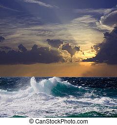 durante, pôr do sol, tempestade, onda