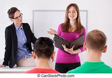 durante, presentazione, studente