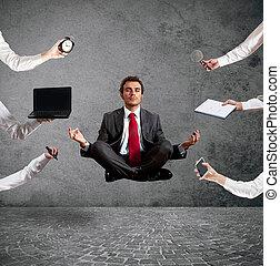 durante, relaxado, trabalho, ioga, homem negócios