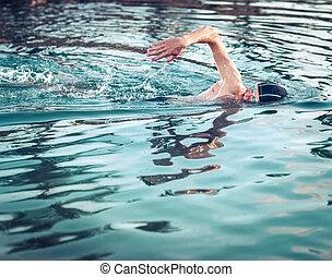 durante, respirar, rastejo, nadador, natação
