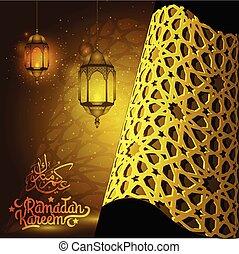 durante, santo, -, islámico, bendecir, caligrafía, mes, patrón, generosidad, beatiful, poder, árabe, kareem, texto, traducción, plano de fondo, linternas, saludo, ramadan, :, usted