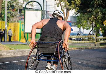 durante, sillón ruedas que compite, atleta, competición