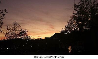 durante, strada, tramonto, guidare