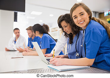 durante, studente, macchina fotografica, sorridente, medico...