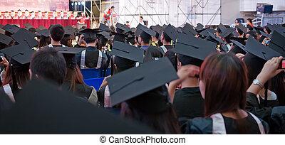 durante, tiro, comienzo, casquillos de la graduación