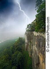 durante, uno, tempesta, montagne, lightning.