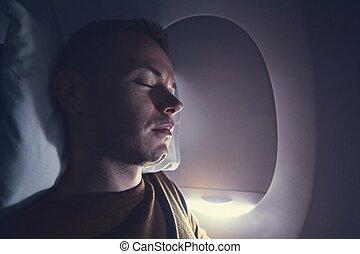 durante, vôo, sono