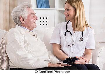 durante, visita, homem, médico, idoso