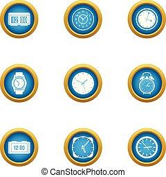 Duration icons set, flat style - Duration icons set. Flat...