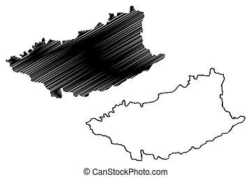 Durazno Department (Departments of Uruguay, Oriental Republic of Uruguay) map vector illustration, scribble sketch Durazno map