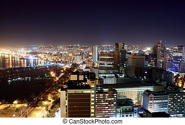 Durban city at night - view of Durban City, South Africa at...