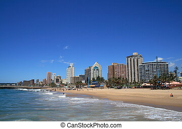scene of Durban city from the coast