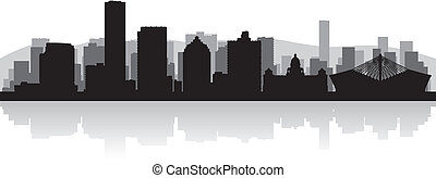 Durban city skyline vector silhouette
