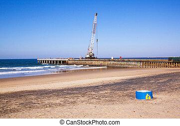 durban, fonctionnement, jetée, construction, devant, grue, plage
