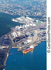 durban harbour fuel storage zone - above view of durban...