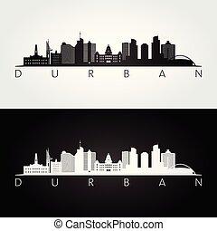 Durban skyline and landmarks silhouette