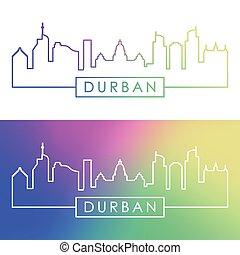 Durban skyline. Colorful linear style.