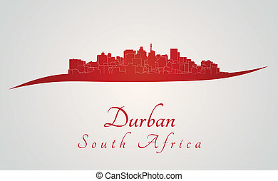 Durban skyline in red