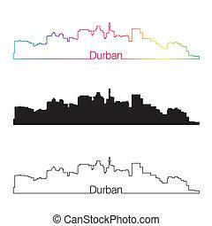 Durban skyline linear style with rainbow