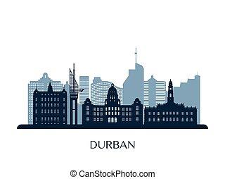 Durban skyline, monochrome silhouette.
