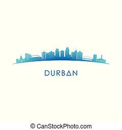 Durban skyline silhouette. Vector design.