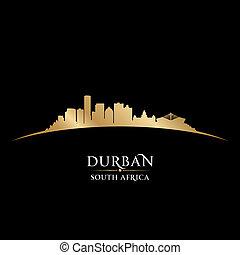 Durban South Africa city skyline silhouette black background...