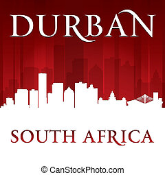 Durban South Africa city skyline silhouette red background