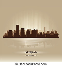 Durban South Africa city skyline silhouette