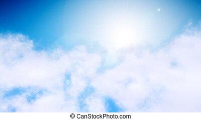 durch, fliegendes, wolkenhimmel