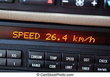 durchschnitt, geschwindigkeit, auf, auto, brett, edv