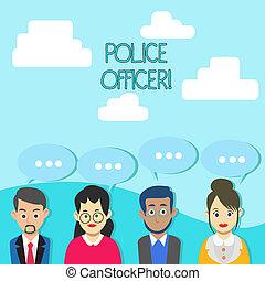 durchsetzung, begriff, polizei, demonstrieren, geschäftsmenschen, farbe, text, mannschaft, dots., drei, schreibende, officer., vortrag halten , offizier, unterhaltung, leer, gruppe, wort, gesetz, blase