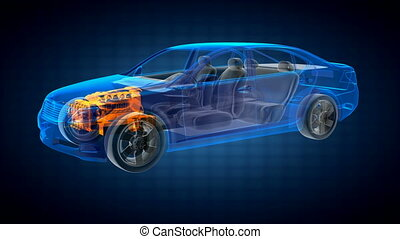 durchsichtig, auto, begriff, auf, hologramm
