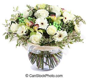 durchsichtig, gänseblümchen, hintergrund., arrangement., ...