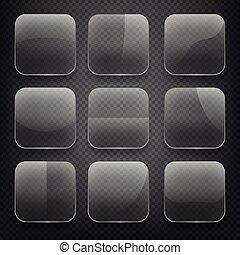 durchsichtig, glas, quadrat, app, tasten, auf, checkered, hintergrund., vektor, heiligenbilder, satz