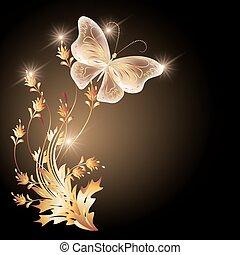 durchsichtig, papillon, goldenes, fliegendes, verzierung