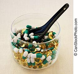 durchsichtig, tabletten, schüssel