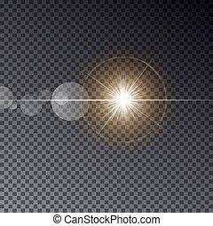 durchsichtig, vektor, sonne- licht, mit, bokeh, freigestellt, auf, dunkel, hintergrund., glänzend, stern, auf, magisches, ring., sonne