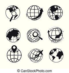 durchsuchung, symbol, heiligenbilder, freigestellt, planet,...