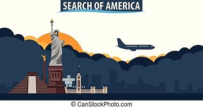 durchsuchung, von, america., reise tourismus, banner., wolkenhimmel, und, sonne, mit, motorflugzeug, auf, der, hintergrund.