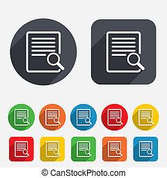 durchsuchung, zeichen, datei, icon., finden, document.