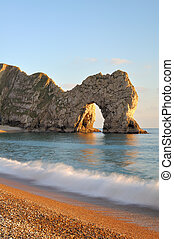 Durdle Door Lulworth Dorset. - Late evening light at Durdle ...